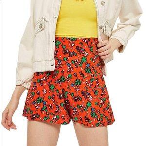 Topshop Ditsy Orange floral high rise shorts 10